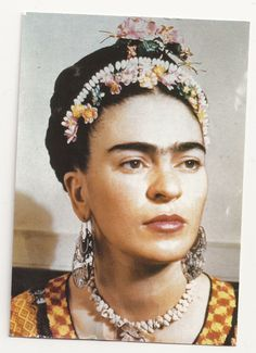 "Frida Kahlo    The blogger of this website found this image in a postcard in a place called ""Old Town"" in San Diego, California. It is a colonial mexican place where basically they sell typical mexican food and crafts."