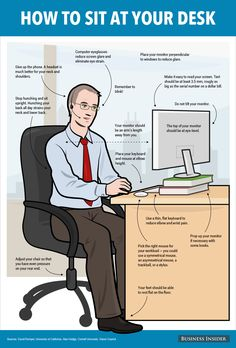The Right Way to Sit at Your Desk             #health #healthinfographics  http://genetichealthplan.com/
