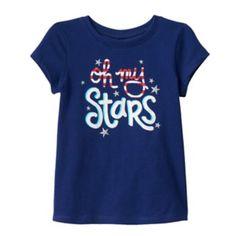 Toddler Girl Jumping Beans Patriotic Glitter Tee