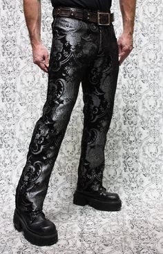 TAPESTRY PANTS - SILVER AND BLACK