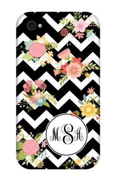 Come shop this Flower Chevron Monogram iPhone 4 Tough Case at http://www.putacaseon.me/products/flower-chevron-monogram-iphone-4-tough-case . Using our custom case tool you can design your case exactly how you want it.