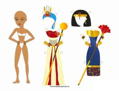 Historical Egyptian, Greek and Roman Male & Female  Paper Dolls with clothes.  Even a set that can be colored!
