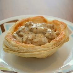 Biscuit bowls with eggs and sausage gravy.... all the good stuff in a bowl