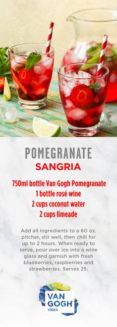 This Pomegranate Sangria is a serious crowd-pleaser. Featuring our premium Van Gogh Pomegranate, this batch recipe is perfect for easter cocktails or as a quick party drink. Follow for more recipes or visit our website.