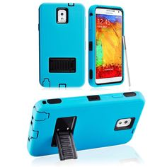 SAMSUNG GALAXY NOTE 3 CASE, TOUGH RUGGED HYBRID COVER WITH STAND (TEAL / BLACK) | #cellphonegadgets #mobileaccessories www.kuteckusa.com
