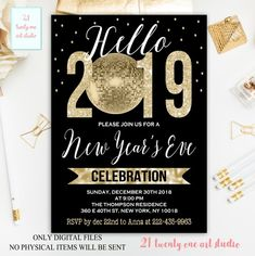 new years eve invitation new years party invitation new years invitation new years eve invite digital invitation printable