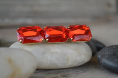 1980's Red Jeweled Rod Brooch by BitsofthePast on Etsy, $8.00