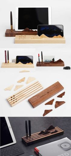 Wooden Office Desk Organizer Stationery Pen Pencil Holder & Business Card Holder & iPad Cell Phone Stand Holder