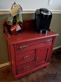 Old Wash Table (Before and After) -- Good idea, put small dresser or something like this in guest room with snacks, drinks, and overnight things