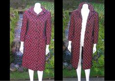 Vintage 1960s Nicholas Ungar Black and Red Chevron Design Long Coat Luxe Couture Jacket Unique by WestCoastVintageRSL, $148.00