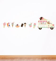 Ice Cream Truck & Friends Repositionable Removable Wall Sticker Wall Decal