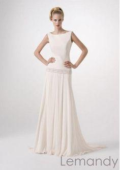 simple ivory A line drop waist chiffon wedding dress. $218.00, via Etsy.