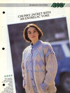 398 Creative Knitting Woman's Pattern 398 : Chunky Jacket with an Entrelac Yoke Pamphlet – 1986 Creative Knitting, Men Sweater, Pattern, Jackets, Women, Fashion, Down Jackets, Moda, Fashion Styles