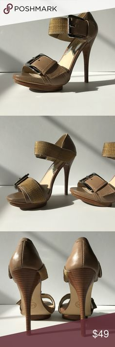 """MK Buckle Up Platform Sandals Set yourself apart with these lovely taupe platforms. Details include double silver tone buckles, stacked wooden heel, contrasting taupe and gold web material. Leather upper excluding the web material, rubber outsole. 4.5"""" heel with .5"""" platform. Slightly padded footbed. In excellent condition. Worn a couple of times. 😊 MICHAEL Michael Kors Shoes Sandals"""