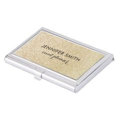 Glam Faux Gold Glitter Look Business Card Holder - girly gifts special unique gift idea custom