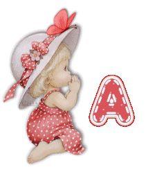 Alfabeto de nenita rezando, vestido zapote. | Oh my Alfabetos!