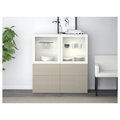IKEA   BESTÅ Storage Combination W/glass Doors White, Selsviken High