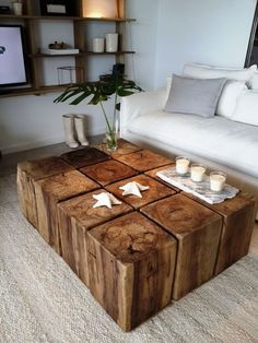 43 Wooden Tables Bring The Natural Touch Inside – Page 12 of 43 – LoveIn Home – Furniture – einrichtungsideen wohnzimmer Pallet Furniture, Rustic Furniture, Furniture Design, Outdoor Furniture, Coffee Table Design, Big Coffee Tables, Unique Coffee Table, Wooden Tables, Living Room Decor
