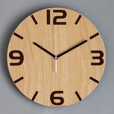 Wall Watch, Wooden Walls, Wooden Products, Clock Wall, Wall Decor, Simple, Wood Clocks, Clock Art, Picture Clock