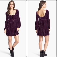 "HPNew free people velvet baby doll dress Info from website: ""oh so easy"" velvet babydoll dress by free people. A babydoll cut, bell sleeves and rich velvety texture evoke fairy-take royalty with a short scoop- back dress. Free People Dresses"