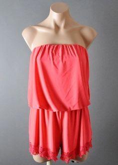 19.78$  Buy here - http://viscx.justgood.pw/vig/item.php?t=6ylu4oz54106 - Coral Strapless Summer Lace Tips Romper Mini Shorts Jumpsuit Playsuit Bodysuit M