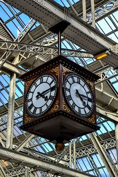 Made in Scotland, from Girders - Clock in Glasgow Central Station Glasgow Central Station, Big Ben, Scotland, Clock, How To Make, Photography, Travel, Watch, Photograph
