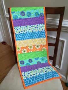 Love this line of fabric!  Good Morning! by Moda.  Quilted table runner Quilted table topper by TheQuiltedPillow, $40.00