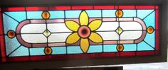 ~ ANTIQUE AMERICAN STAINED GLASS TRANSOM WINDOW JEWELS ARCHITECTURAL SALVAGE ~