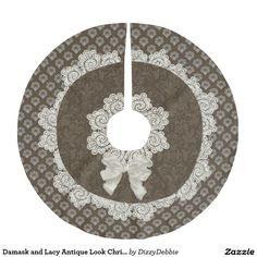 Damask and Lacy Antique Look Christmas Tree Skirt