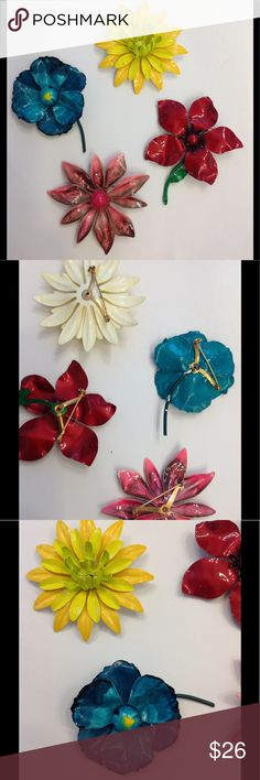 """Vintage Brooch Bundle This is a stunning collection of vintage flower brooches. Clasps work on all four. Size is approximately 3""""x3"""". Jewelry Brooches"""