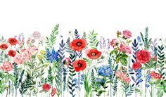 Wallpaper Mural Tricks: How to Choose and Install Watercolor Flowers, Watercolor Paintings, Watercolour, Arte Van Gogh, Field Wallpaper, Flower Doodles, Flower Art, Flower Mural, Painting & Drawing
