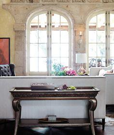 Wood with a metallic glaze-Cory Sofa Villa Medici Console Dining Room Furniture, Furniture Decor, Bernhardt Furniture, High Quality Furniture, Home Living Room, Sofa, Interior Design, Villa, Console Tables