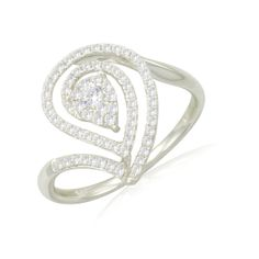 """Lady's 10k white gold diamond """"rain drop"""" ring. Available at H. Williams Jewellery. White Gold Diamonds, Rose Gold, Gold Rings, Rain, Drop, Jewellery, Engagement Rings, Watches, Winter"""