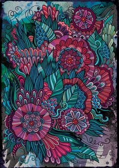 Doodle flowers by balabolka , via Behance