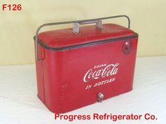 VINTAGE ANTIQUE COCA COLA COKE SODA POP COOLER CHEST PROGRESS REFRIGERATOR RARE #CocaCola