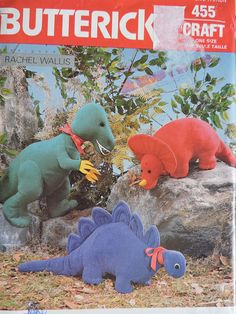 Butterick 455 / 5753 uncut PATTERN includes patterns and instructions for Dinosaur A: approximately high and long; Dinosaur B: approximately high and long; Dinosaur C: approximately high and long. Pattern was created by Rachel Wallis. Cool Patterns, Stitch Patterns, Sewing Patterns, T Rex Toys, Dinosaur Pattern, Costume Patterns, Prehistoric Animals, Sewing Toys, Vintage Crafts