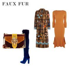 """floral fur"" by cristina-2017 ❤ liked on Polyvore featuring Fendi, Aquazzura, Prada and Karen Millen"