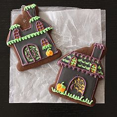 Dark cocoa molasses cookies decorated for Halloween!