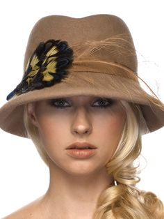 Fedora.012 - Fedora - Beige Felt - Gros Grain Band - Feather Detail - Made To Order On Premise
