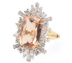 Vintage Imperial Topaz Diamond Ring