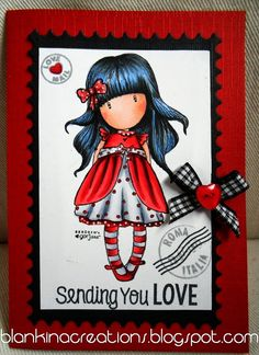 Loves Rubberstamps bloghop by DT Blankina, Gorjuss lady bird and MFT sentiment, coloured with copics