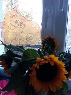 Jesienna dekoracja na okno! Squirrel idea!