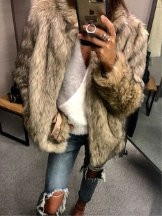 #winter #outfits white and black fur coat