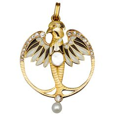 French Gold & Enamel Eagle Pendant, Paris, 1910 - 18k gold, diamonds, enamel, mother of Pearl art nouveau