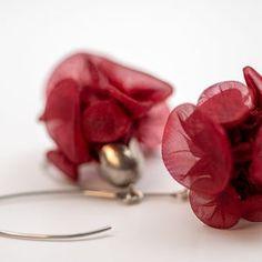 Fabric Earrings, Large Chunky Funky Burgundy Earrings, Statement Accessories, Avant-Garde Shibori Fabric Textile Jewelry