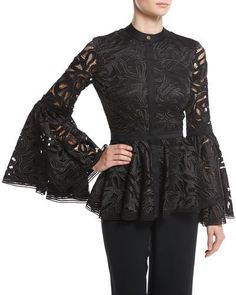 Luxury & Vintage Madrid, offers you the best selection of contemporary and vintage clothes from around the world, discover our luxury brands, Express delivery! Black Bell Sleeve Top, Long Sleeve Peplum Top, Peplum Tops, Lace Top Dress, Sheer Lace Top, Lace Peplum, Sheer Tops, Lacy Tops, Black Lace Tops