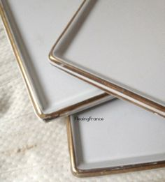 FleaingFrance Brocante Society Lovely white enamel trays from the 1800's.