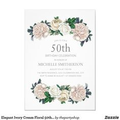 Elegant ivory cream floral birthday party invitation for women 60th Birthday Party Invitations, 90th Birthday Parties, Birthday Gifts, Floral Invitation, Elegant, Ivory, Cream, 50th, Shop