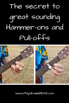 Ukulele Tricks: The secret to great sounding Hammer-ons and Pull-offs Cool Ukulele, Ukulele Tabs, Ukulele Chords, Cool Guitar, Blue Guitar, Guitar Scales, Easy Guitar, Guitar Shop, Ukulele Songs Beginner