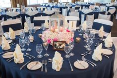 Navy Blue Reception Table Decor with Pink and Ivory Floral Centerpieces with Silver Lantern and Blue Table Linens | St. Pete Wedding Florist Iza